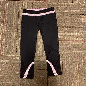 Lululemon pink and white striped leggings